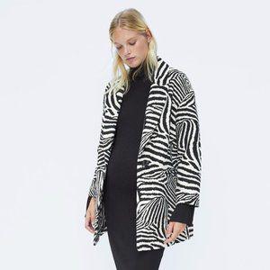 NWT Zara Wool Blend Oversized Coat in Zebra